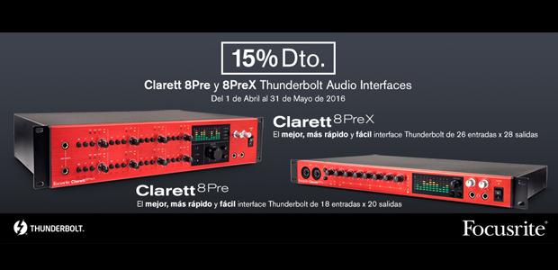 Descuento al comprar Focusrite Clarett 8Pre o 8PreX